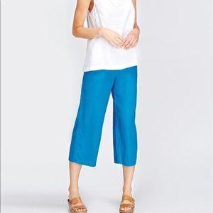 Flax blue wide leg Ankle length flood pant Sz S